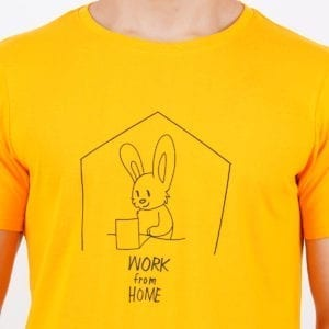 Graphic Printed Round neck Work From Home Yellow T Shirt Print