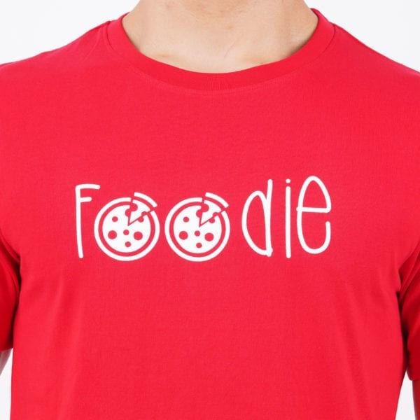 Printed Round or Crew neck Foodie Red T Shirt Print