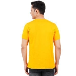 Graphic Printed Round neck Work From Home Yellow T Shirt Back