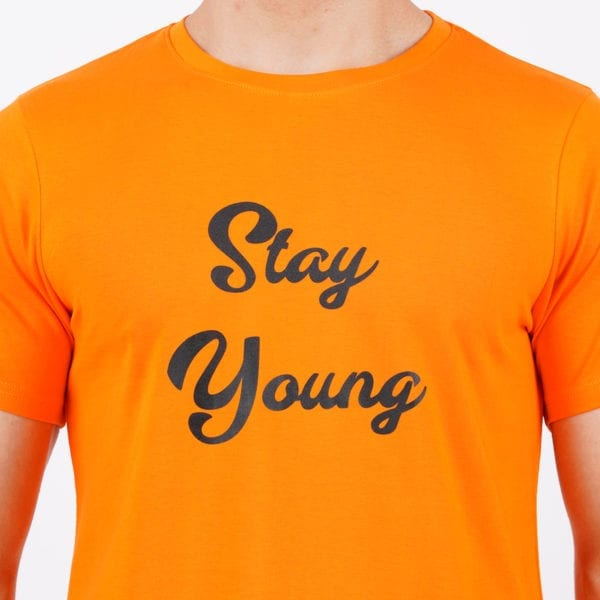 Graphic Printed Round neck Stay Young Orange TShirt Print