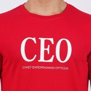Typography Mens Round neck CEO Red T Shirt Print