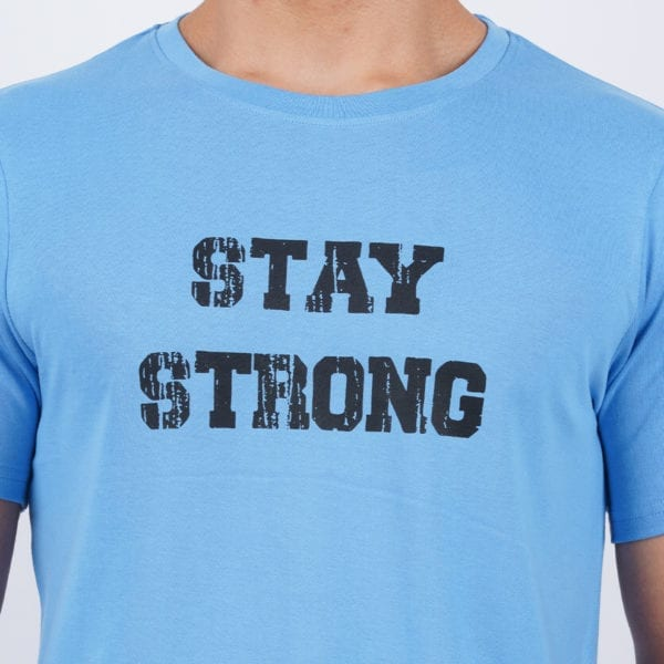 Printed Round or Crew neck Stay Strong Dark Blue T Shirt Print