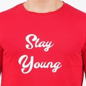 Typography Round neck Stay Young Red Mens T Shirt Print