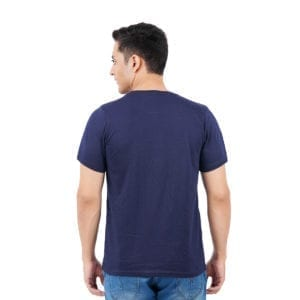 Printed Round or Crew neck Work From Home Navy T Shirt Back