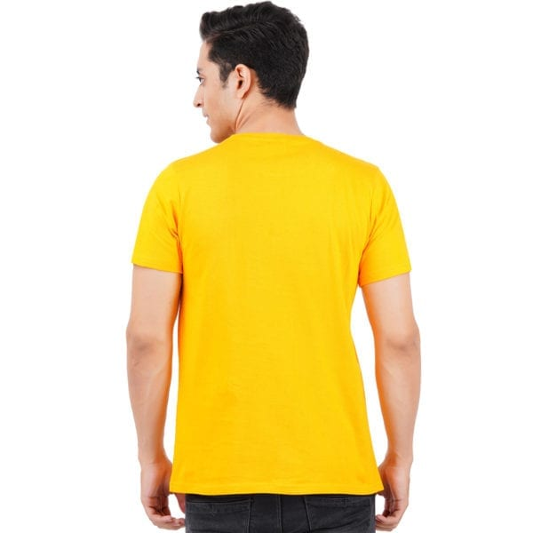 Graphic Printed Round neck Underestimate Me Yellow T Shirt Back