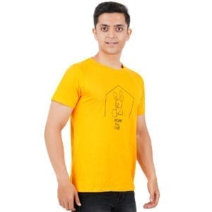 Graphic Printed Round neck Work From Home Yellow T Shirt