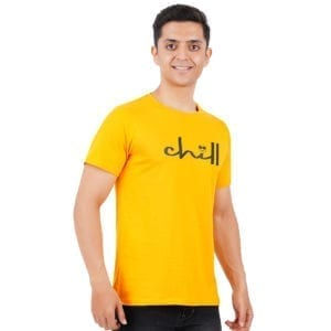 Printed Mens Round or Crew neck Chill Yellow T Shirt