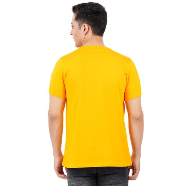 Graphic Printed Round neck Foodie Yellow T Shirt Back