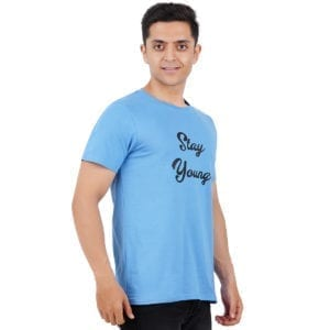 Printed Round or Crew neck Stay Young Dark Blue T Shirt