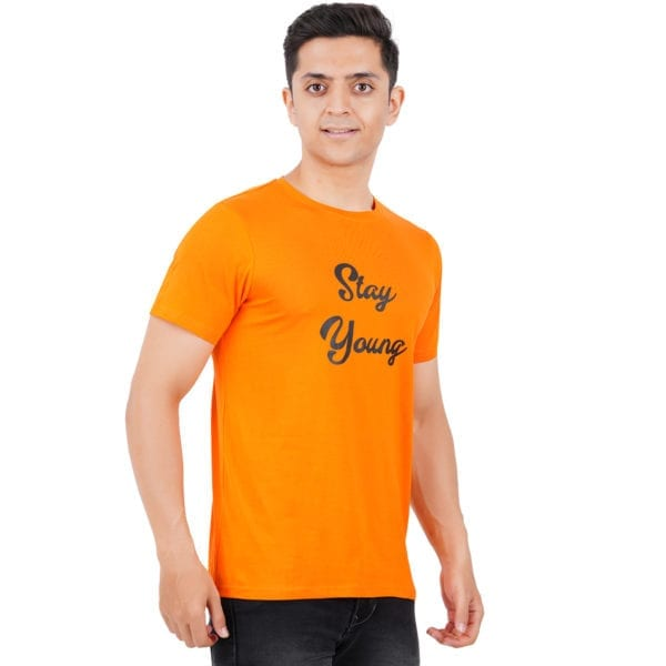Graphic Printed Round neck Stay Young Orange TShirt