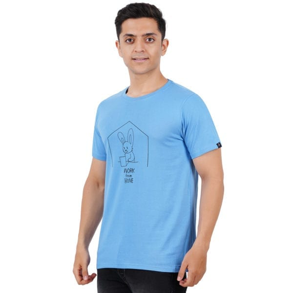 Typography Round neck Work From Home Blue T Shirt