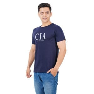 Printed Mens Round or Crew neck CIA Navy T Shirt