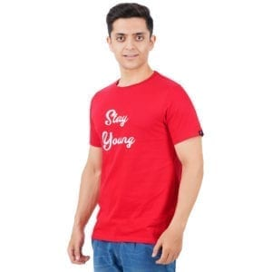 Typography Round neck Stay Young Red Mens T Shirt