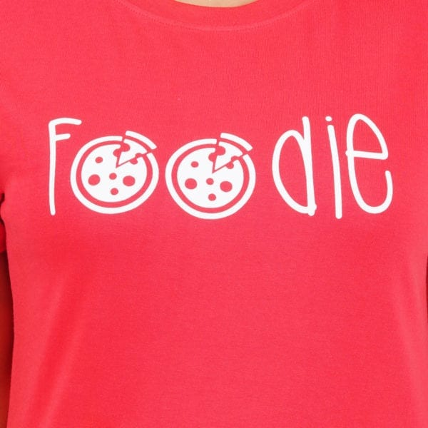 Graphic Printed Round Foodie Red Womens T Shirt Print