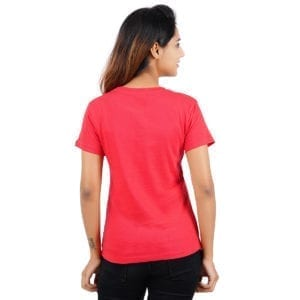 Graphic Printed Round Foodie Red Womens T Shirt Back