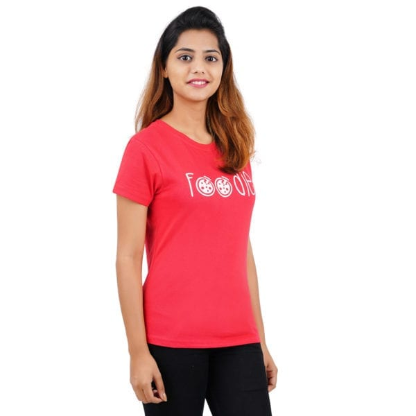 Graphic Printed Round Foodie Red Womens T Shirt