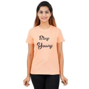 Printed Round or Crew neck Stay Young Peach Womens T Shirt