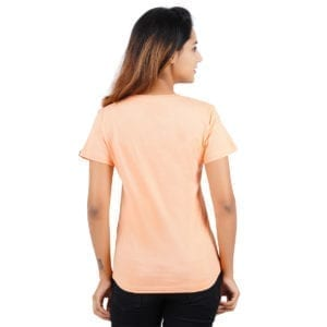 Typography Round neck Underestimate Me Peach Womens T Shirt Back