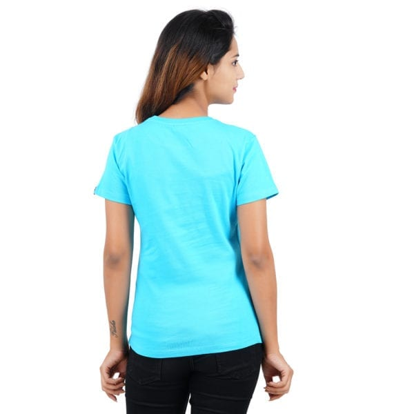 Graphic Printed Round neck Underestimate Me Blue Womens T Shirt Back