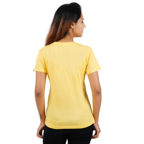 Printed Round or Crew neck Underestimate Me Yellow Womens T Shirt Back