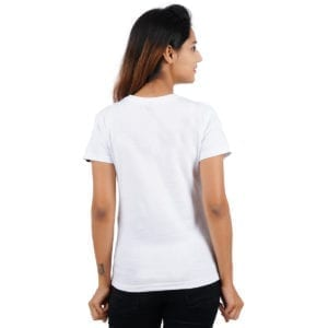 Graphic Printed Round neck Stay Strong White Womens T Shirt Back