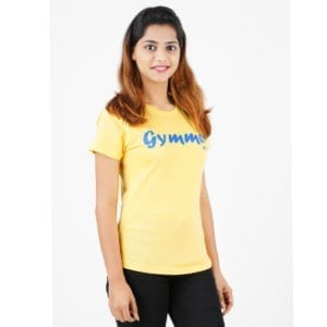Printed Round or Crew neck Gymmer Yellow Womens T Shirt