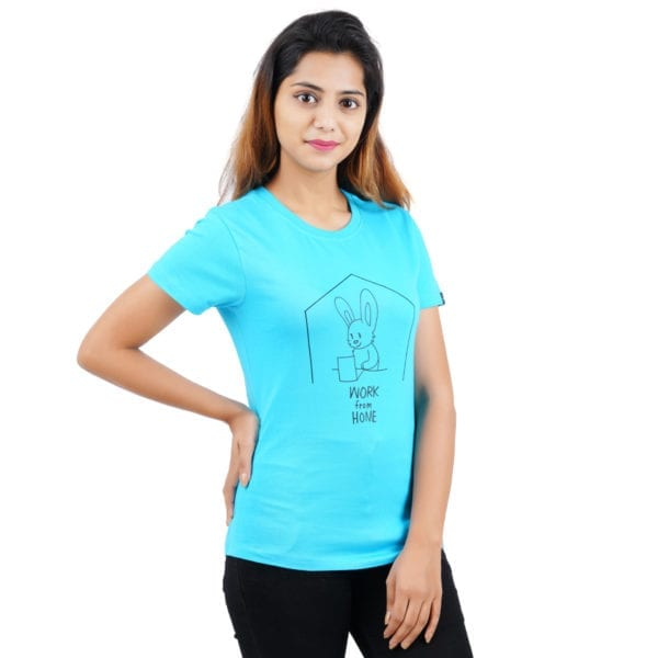 Printed Round or Crew neck WFH Blue Womens T Shirt
