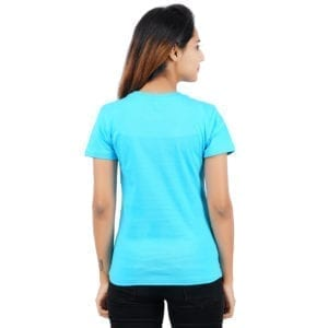 Typography Round neck Gymmer Blue Womens T Shirt Back