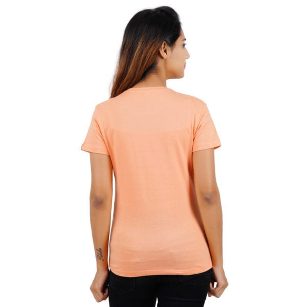 Typography Round neck WFH Peach Womens T Shirt Back