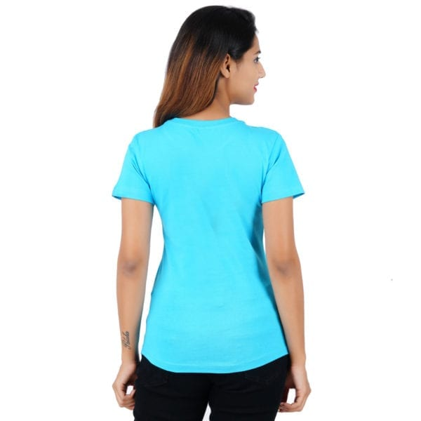Typography Round neck Stay Strong Blue Women TShirt Back