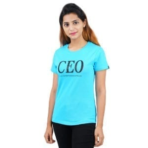 Graphic Printed Round neck CEO Blue Womens T Shirt