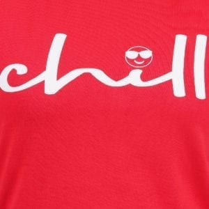 Typography Round neck Chill Red Womens T Shirt Print