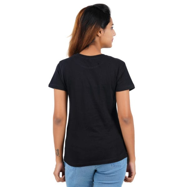 Graphic Printed Round neck Gymmer Black Womens T Shirt Back