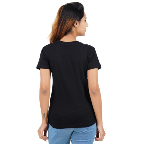 Printed Round or Crew neck CIA Black Womens T Shirt Back