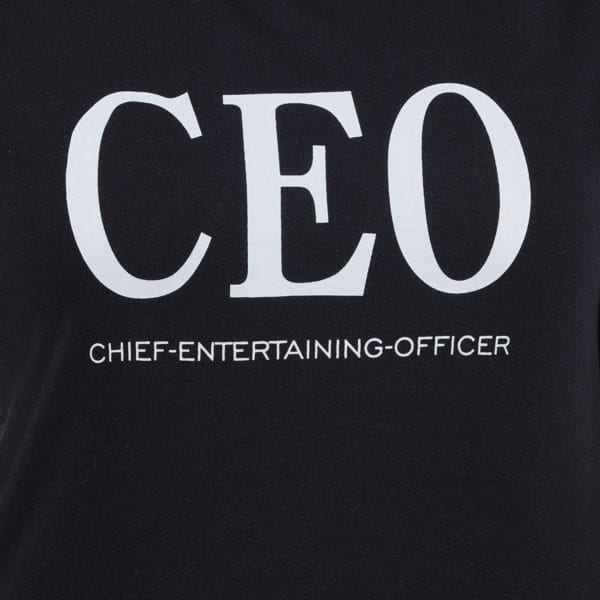 Printed Round or Crew neck CEO Black Womens T Shirt Print