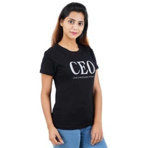 Printed Round or Crew neck CEO Black Womens T Shirt