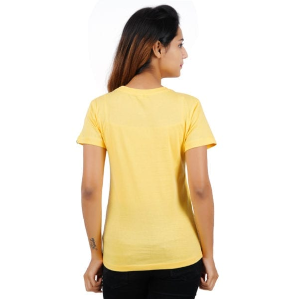 Graphic Printed Round neck Panda Stay Young Yellow Womens T Shirt Back